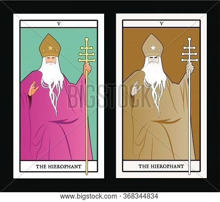 Major Arcana Tarot Cards. The Hierophant. Pope With White Beard And Miter With Stars, Holding A Gold