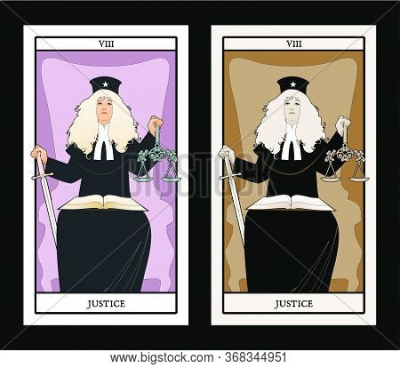 Major Arcana Tarot Cards. Justice. Woman Dressed In A Wig And Judge's Clothes, Holding A Sword In On