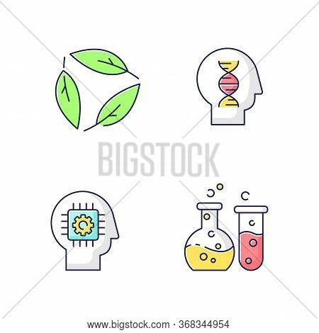 Modern Sciences Rgb Color Icons Set. Formal And Natural Scientific Disciplines. Human Biology, Ecolo
