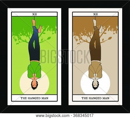 Major Arcana Tarot Cards. The Hanged Man. Man Hanging From A Tree, Face Down, Subject Of The Right F
