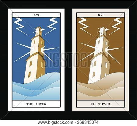 Major Arcana Tarot Cards. The Tower. Large Tower Over Raging Sea, Under The Storm And Hurt By Lightn