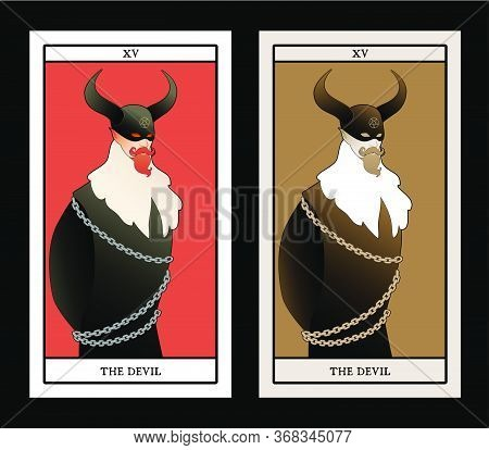 Major Arcana Tarot Cards. The Devil. Man Wearing A Mask And Big Horns, Mustache, Goatee And Austere