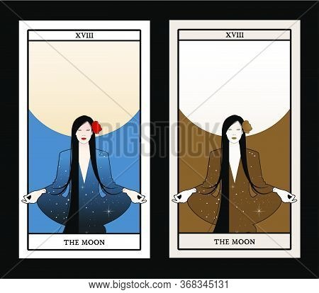 Major Arcana Tarot Cards. The Moon. Beautiful Girl Meditating In Lotus Position And Full Moon In The