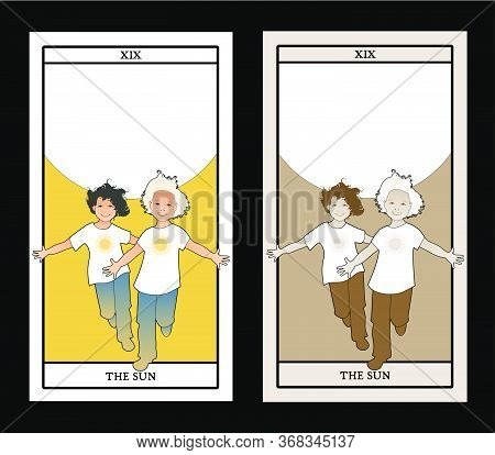 Major Arcana Tarot Cards. The Sun. Two Happy Twin Boys Running With Open Arms In Front Of The Sun