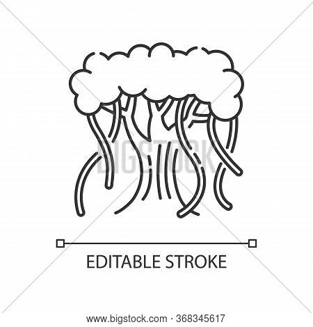 Indian Banyan Pixel Perfect Linear Icon. National Indian Evergreen Tree. Symbol Of Eternal Life. Thi