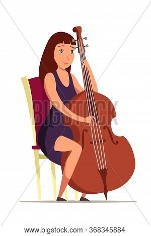 Cellist On Chair Flat Vector Illustration. Smiling Woman Performing Classical Music Cartoon Characte
