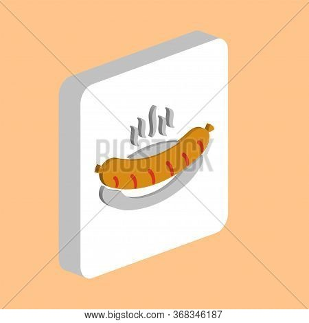 Hot Sausage In Plate Simple Vector Icon. Illustration Symbol Design Template For Web Mobile Ui Eleme