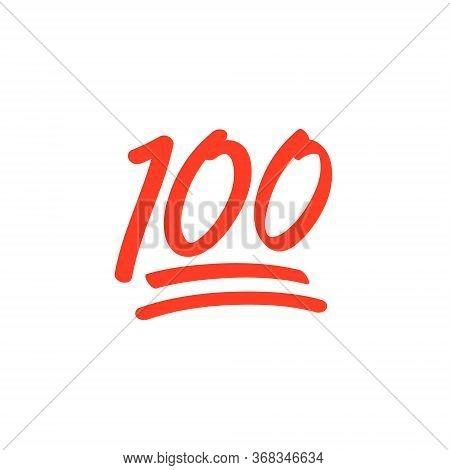 100 Hundred Emoticon Vector Icon. 100 Emoji Score Sticker