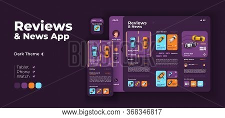 Transport Reviews App Screen Vector Adaptive Design Template. Application Night Mode Interface With
