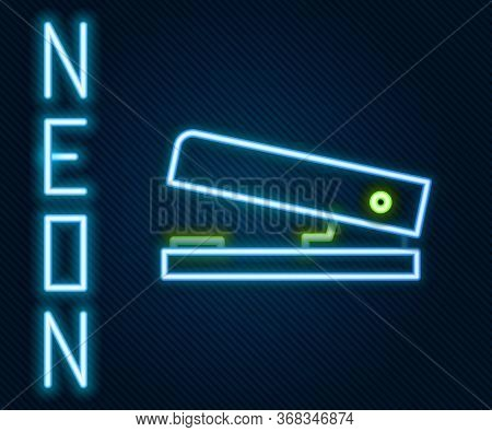 Glowing Neon Line Office Stapler Icon Isolated On Black Background. Stapler, Staple, Paper, Cardboar
