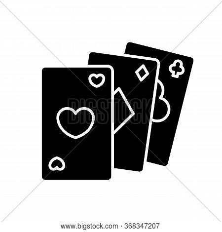 Card Game Black Glyph Icon. Traditional Casino Pastime, Poker Silhouette Symbol On White Space. Comp