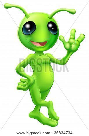 Pequeño hombre verde extraterrestre