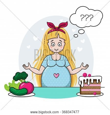 Cute Pregnant Woman Thinks About Healthy Food. Pregnant Lady Decides What To Eat. Waiting For Baby V