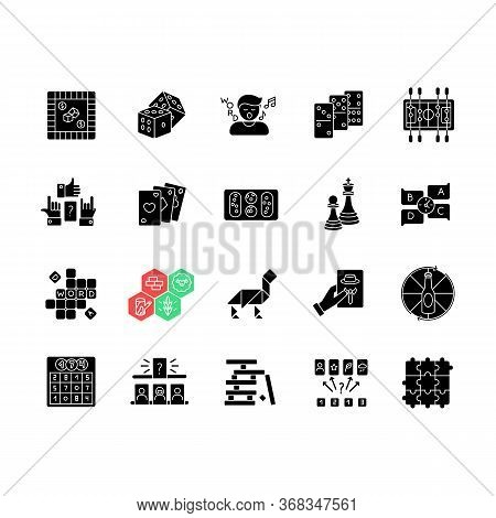 Table Games Black Glyph Icons Set On White Space. Amusing And Educational Games, Entertaining Pastim