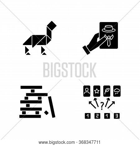 Tabletop Games Black Glyph Icons Set On White Space. Different Recreational Activities, Entertaining