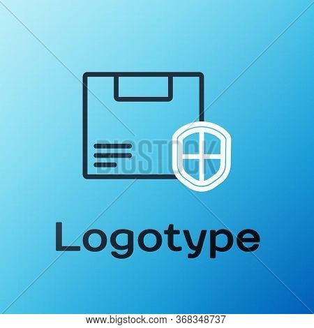 Line Delivery Security With Shield Icon Isolated On Blue Background. Delivery Insurance. Insured Car