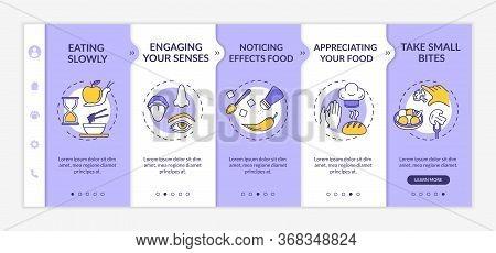 Healthy Eating Habits Onboarding Vector Template. Engaging Senses, Appreciating Food, Taking Small B