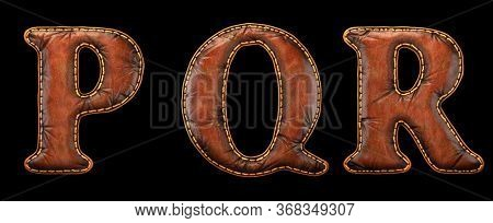 Set of leather letters P, Q, R uppercase. 3D render font with skin texture isolated on black background. 3d rendering