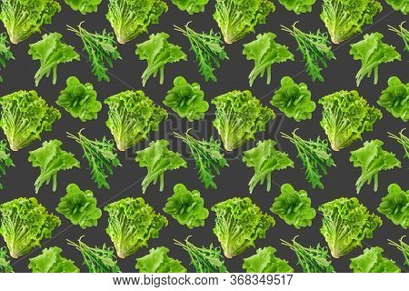 Seamless Pattern Of Fresh Salad Leaves On Grey Background