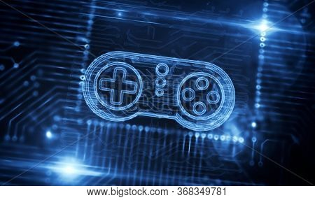 Gaming, Fun, Esport, Cyber Game, Digital Sport And Entertainment Technology Production Line Abstract