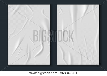 Glued Paper. Realistic Wet Wrinkled And Creased White Paper Sheets, Crumpled Poster Texture Mockup,