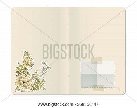 Blank Stapled Notebook With Folded Blank Photo Paper And Die Cut Flowers Illustration In Vintage Ret
