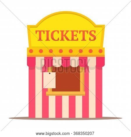 Cartoon Carnival Striped Ticket Booth Kiosk Isolated On White. Flat Cinema, Circus, Theater, Amuseme