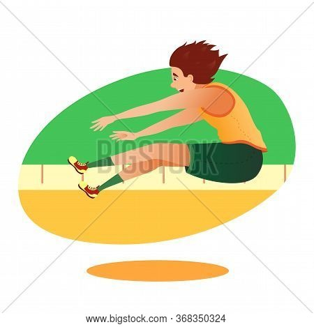 Cartoon Athletics Long Jumper Sportsman Character Taking Part In Competition. Summer Games Athlete T