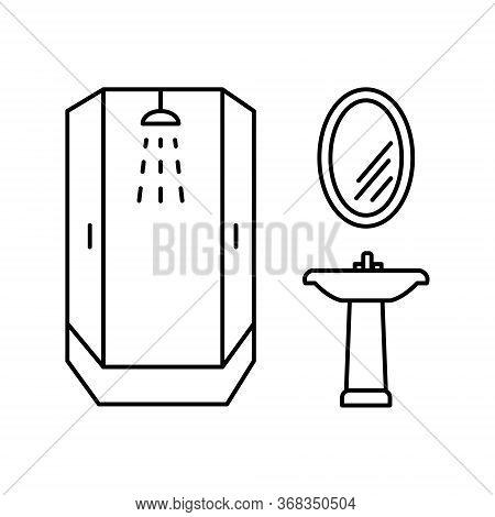 Bathroom Furniture Line Vector Icons. Shower, Sink, Mirror Editable Stroke
