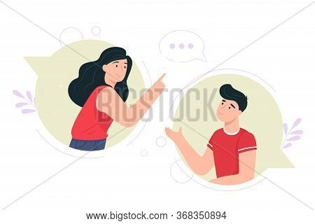 Conversation Concept Illustration. Vector In Flat Style. Communication, Chat, Conversation