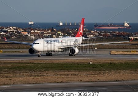 Istanbul / Turkey - March 28, 2019: Turkish Airlines Airbus A330-300 Tc-jok Passenger Plane Departur