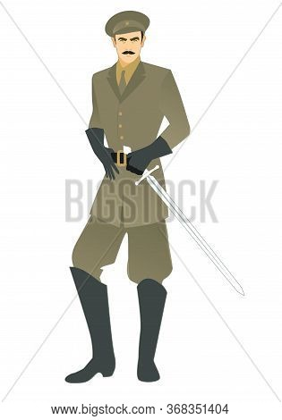 Elegant Man With Mustache, Carrying Sword And Military Clothes In Retro Style, Isolated On White Bac