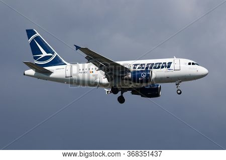 Istanbul / Turkey - March 30, 2019: Tarom Airbus A318 Yr-asc Passenger Plane Arrival And Landing At