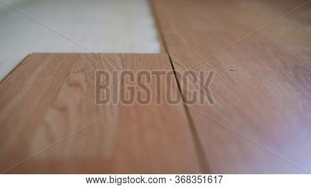 Carpenter Laying Laminate Floor. Laying Laminate Flooring