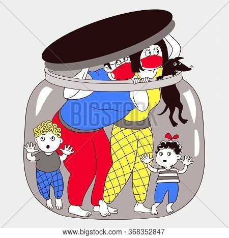 Vector Illustration. The Family Was Quarantined From Society. Allegory Of Preventing And Protecting