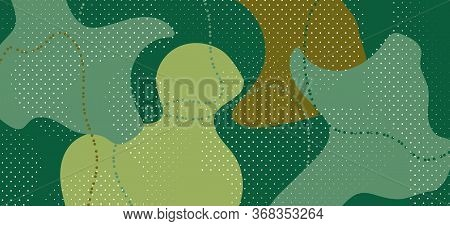 Creative Camouflage Composition. Vector Camo Wave Banner. Fashion Green Military Texture. Minimal Ca