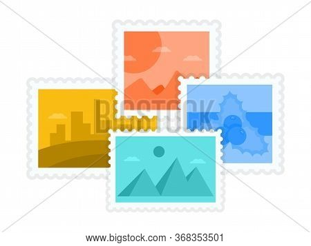 Postmarks And Postage Stamps With Famous Landmark Collection. Cartoon Travel Labels Design. Worldwid