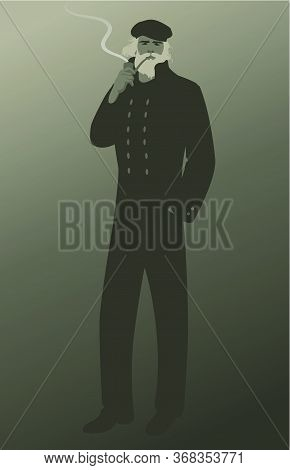Old Salt. Man Wearing Cap And Navy Clothes, Smoking A Pipe, Isolated On Foggy Background