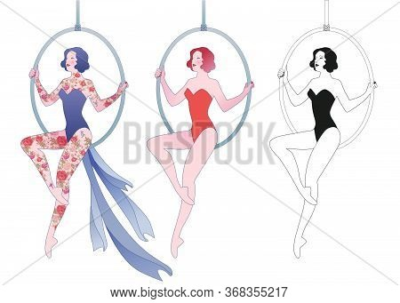 Young Trapeze Artist Sitting On A Hoop Suspended In The Air Isolated On White Background. Three Vers