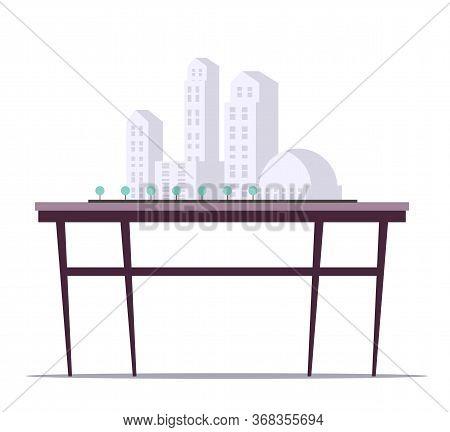 Building Models On Stand Flat Illustration. High Rise Condominium Miniature Vector Clipart. Apartmen
