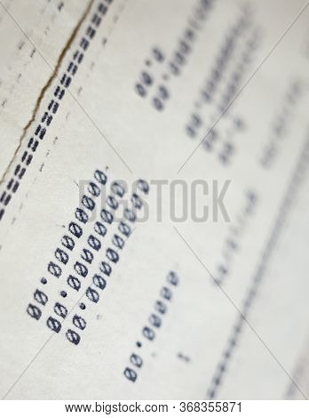 Old Paper Documents. Bookkeeping (accountancy). Calculations. Printed On The Typewriter.