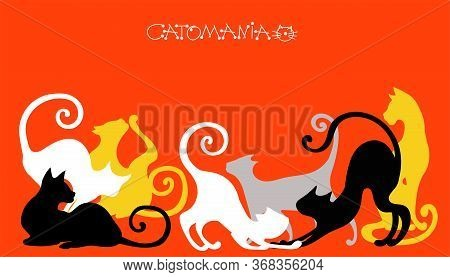 Vector Illustration. Graceful Silhouettes Of Cats On A Red Background.