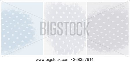 Cute Abstract Grunge Vector Layouts. Irregular Light Blue And Light Gray Worn Surface. Rough Old Dot