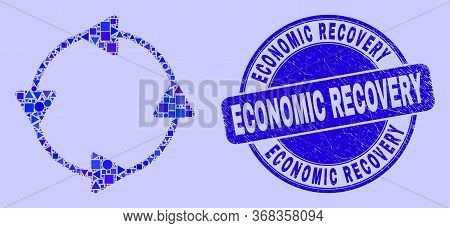 Geometric Ccw Circulation Arrows Mosaic Icon And Economic Recovery Watermark. Blue Vector Rounded Sc