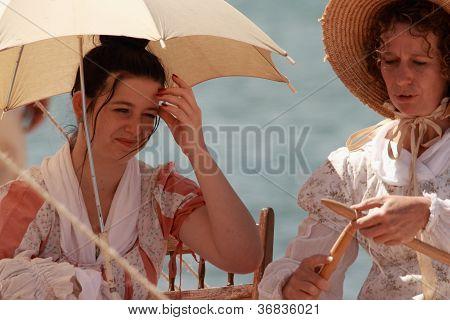 Brisbane, Australia - September 16 : Unidentified People Re-enacting Beach Settlement Camp Life As P