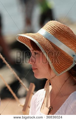 Brisbane, Australia - September 16 : Unidentified Woman In Period Re-enactment Costume As Part Of Th