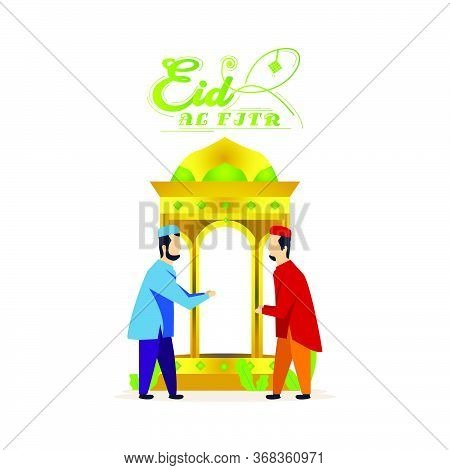 Eid Al Fitr With People Illustration Vector And Decorative Lantern Isolated On White Background