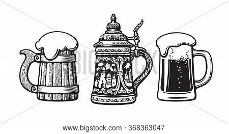 Vintage Set Of Beer Mugs. Old Wooden Mug. Traditional German Stein. Glass Mug With Foam. Vector Illu