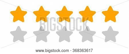 Five Stars Icon Cute Isolated On White, Chic 5 Star Shape Yellow Orange, Clip Art 5 Star For Logo, P