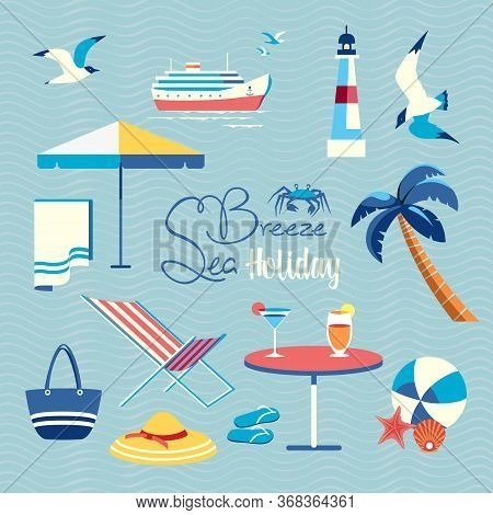 Summer Sea Beach Holiday Fancy Vector Icon Set. Leisure Relax Design Element Collection. Seaside Enj